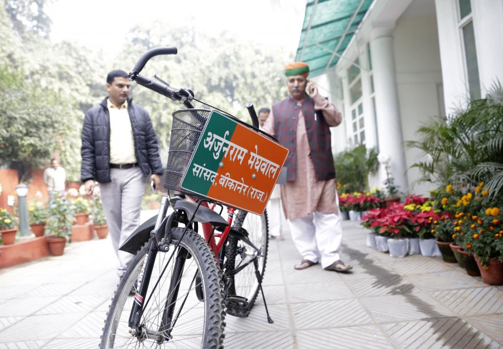 As commuters participate in Delhi government's odd-even drive in a bid to curb air pollution, Bikaner Member of Parliament Arjun Ram Meghwal has been doing his bit for the environment for a while now. He uses his bicycle to go from his residence in Janpath to the Parliament and says it is an effort to reduce carbon emissions (Photos by Vikas Choudhary)