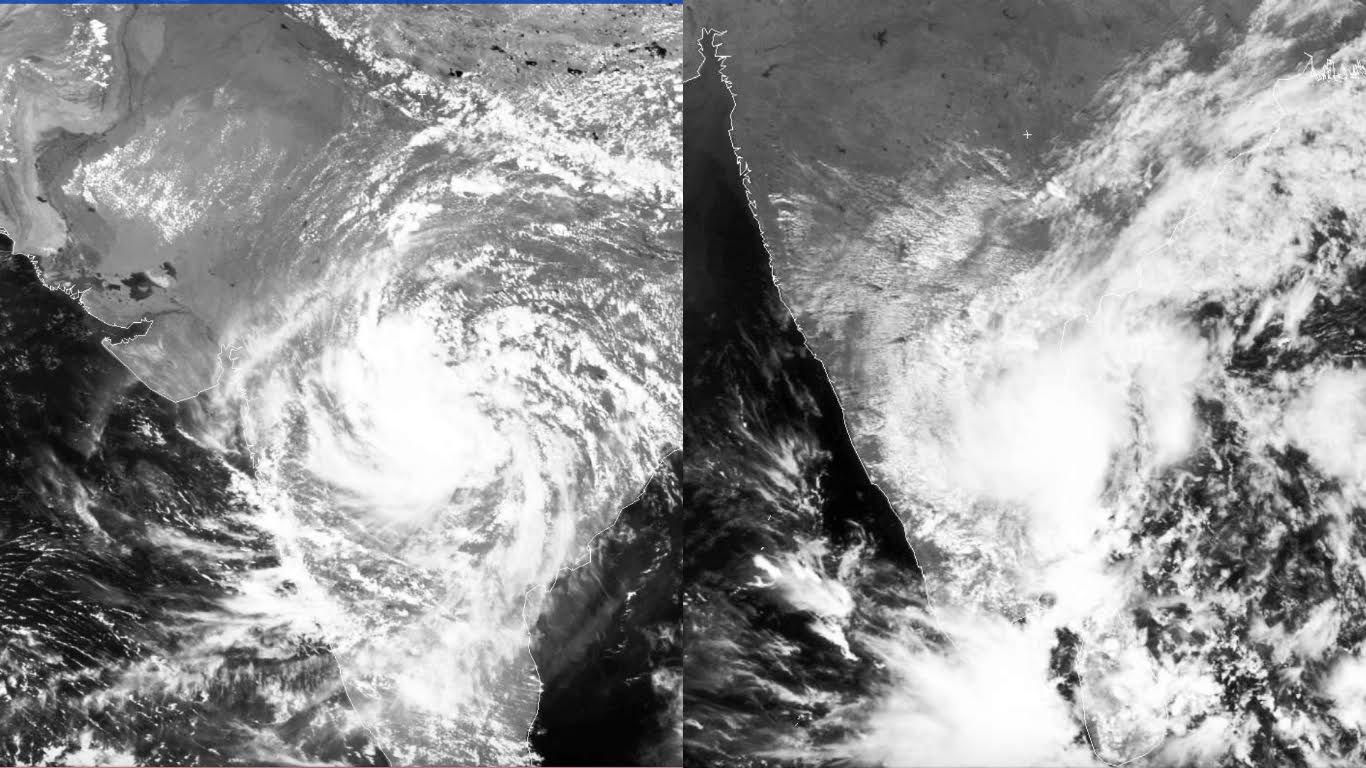 Comparison of monsoon depression in central India (left) and Tamil Nadu monsoon low pressure (Image courtesy: University of Dundee)